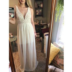 Off white lace maxi dress